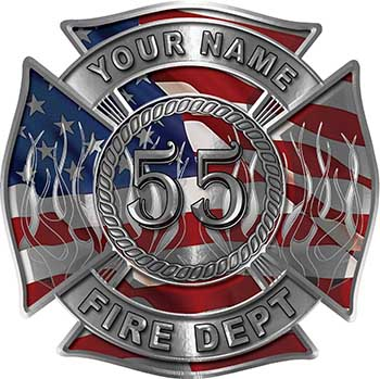 Personalized Fire Fighter Maltese Cross Decal with Flames and Number with American Flag