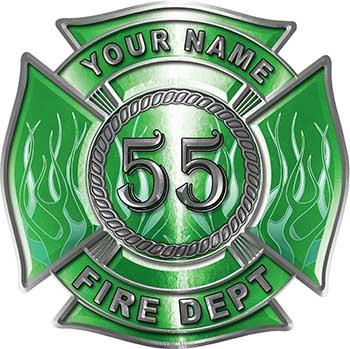 Personalized Fire Fighter Maltese Cross Decal with Flames and Number in Green