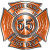 Personalized Fire Fighter Maltese Cross Decal with Flames and Number in Orange