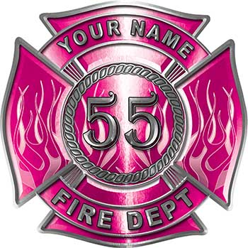 Personalized Fire Fighter Maltese Cross Decal with Flames and Number in Pink