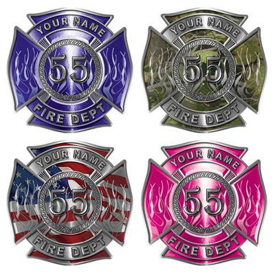 Custom Maltese Cross Firefighter Decals with Number in Center