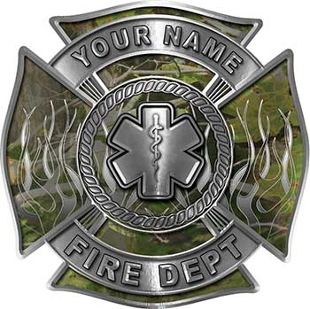 Personalized Fire Fighter Maltese Cross Decal with Flames and Star of Life in Camouflage