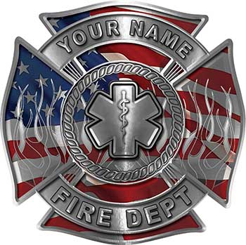 Personalized Fire Fighter Maltese Cross Decal with Flames and Star of Life with American Flag