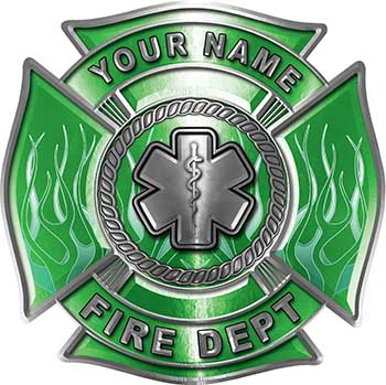 Personalized Fire Fighter Maltese Cross Decal with Flames and Star of Life in Green