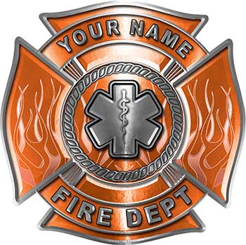 Personalized Fire Fighter Maltese Cross Decal with Flames and Star of Life in Orange