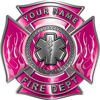 Personalized Fire Fighter Maltese Cross Decal with Flames and Star of Life in Pink