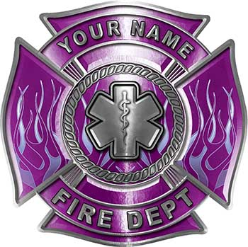 Personalized Fire Fighter Maltese Cross Decal with Flames and Star of Life in Purple