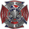 Personalized Fire Fighter Maltese Cross Decal with Flames and Star of Life with Confederate Rebel Flag