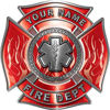 Personalized Fire Fighter Maltese Cross Decal with Flames and Star of Life in Red