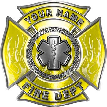 Personalized Fire Fighter Maltese Cross Decal with Flames and Star of Life in Yellow