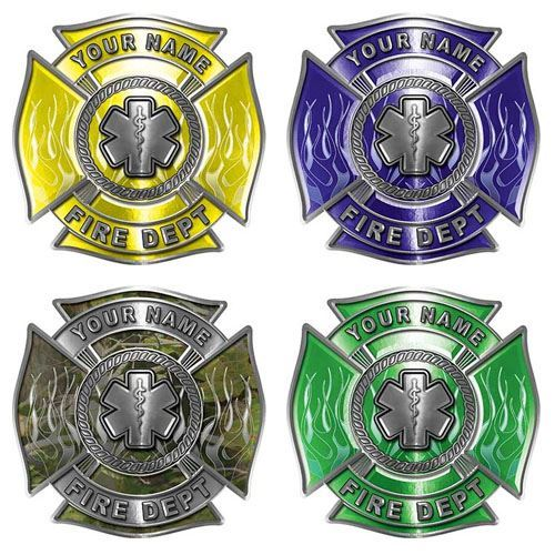 Custom EMS Firefighter Decal with Star of Life and Flames