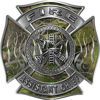 Fire Assistant Chief Maltese Cross with Flames Fire Fighter Decal in Camouflage