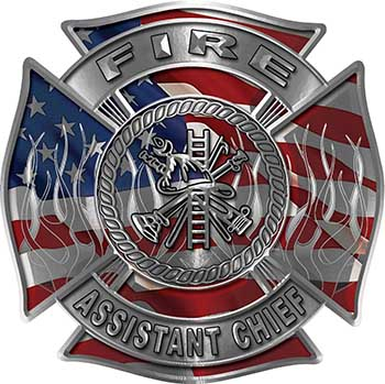 Fire Assistant Chief Maltese Cross with Flames Fire Fighter Decal with American Flag