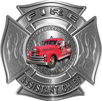 Fire Assistant Chief Maltese Cross with Flames Fire Fighter Decal with Antique Fire Truck