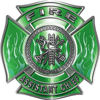 Fire Assistant Chief Maltese Cross with Flames Fire Fighter Decal in Green