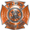Fire Assistant Chief Maltese Cross with Flames Fire Fighter Decal in Orange