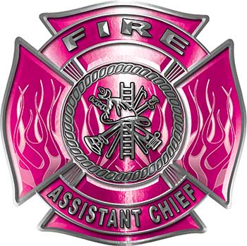Fire Assistant Chief Maltese Cross with Flames Fire Fighter Decal in Pink