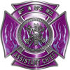 Fire Assistant Chief Maltese Cross with Flames Fire Fighter Decal in Purple