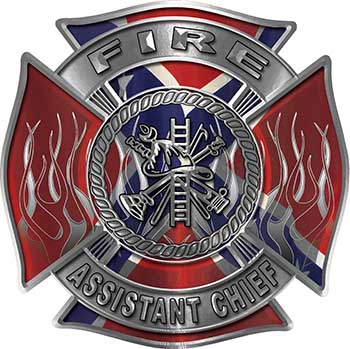Fire Assistant Chief Maltese Cross with Flames Fire Fighter Decal with Confederate Rebel Flag