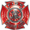 Fire Assistant Chief Maltese Cross with Flames Fire Fighter Decal in Red