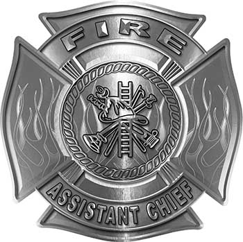 Fire Assistant Chief Maltese Cross with Flames Fire Fighter Decal in Silver