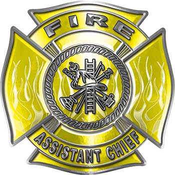 Fire Assistant Chief Maltese Cross with Flames Fire Fighter Decal in Yellow