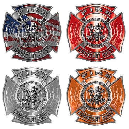 Assistant Chief Firefighter Decal with Flames and Fire Scramble