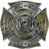 Fire Captain Maltese Cross with Flames Fire Fighter Decal in Camouflage