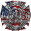 Fire Captain Maltese Cross with Flames Fire Fighter Decal with American Flag