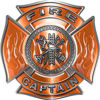 Fire Captain Maltese Cross with Flames Fire Fighter Decal in Orange