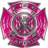 Fire Captain Maltese Cross with Flames Fire Fighter Decal in Pink