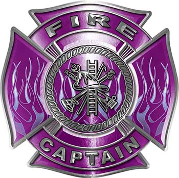 Fire Captain Maltese Cross with Flames Fire Fighter Decal in Purple
