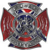 Fire Captain Maltese Cross with Flames Fire Fighter Decal with Rebel Confederate Flag