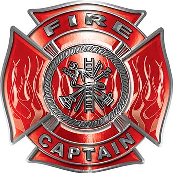 Fire Captain Maltese Cross with Flames Fire Fighter Decal in Red