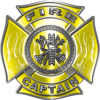 Fire Captain Maltese Cross with Flames Fire Fighter Decal in Yellow