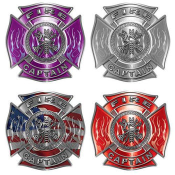 Captain Firefighter Decals - Maltese Cross and Fire Scramble