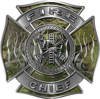 Fire Chief Maltese Cross with Flames Fire Fighter Decal in Camouflage