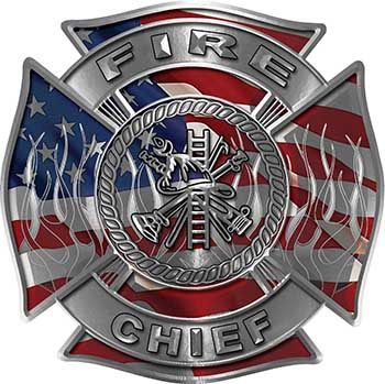 Fire Chief Maltese Cross with Flames Fire Fighter Decal with American Flag