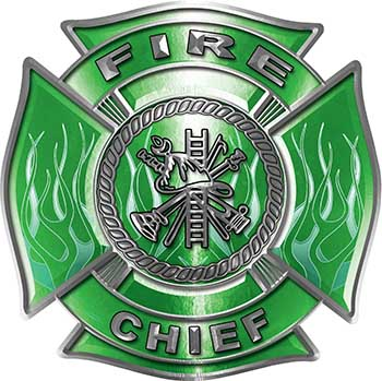 Fire Chief Maltese Cross with Flames Fire Fighter Decal in Green