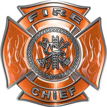 Fire Chief Maltese Cross with Flames Fire Fighter Decal in Orange
