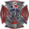 Fire Chief Maltese Cross with Flames Fire Fighter Decal with Confederate Rebel Flag