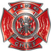 Fire Chief Maltese Cross with Flames Fire Fighter Decal in Red