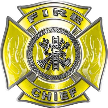 Fire Chief Maltese Cross with Flames Fire Fighter Decal in Yellow