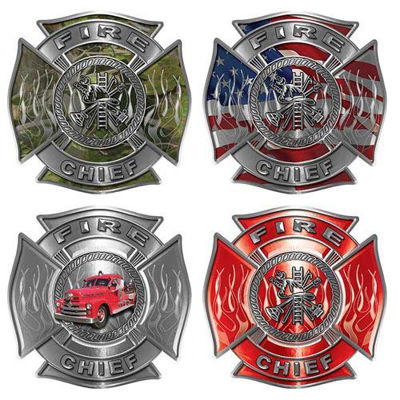 Firefighter Chief Decal - Maltese Cross with Flames and Fire Scramble