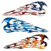 Vintage Tribal Flame Skull Decals for Motorcycle Tank or Helmets