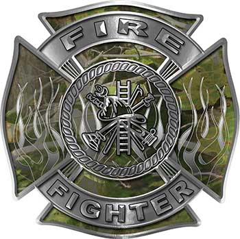 Fire Fighter Maltese Cross Decal with Flames in Camouflage