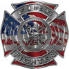 Fire Fighter Maltese Cross Decal with Flames with American Flag