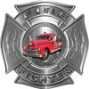 Fire Fighter Maltese Cross Decal with Flames wiht Antique Fire Truck