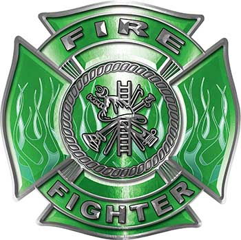 Fire Fighter Maltese Cross Decal with Flames in Green