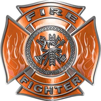 Fire Fighter Maltese Cross Decal with Flames in Orange